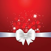 White ribbon and bow on red background. Vector illustration for Valentine's day and Christmas posters, icons, Valentine's day and Christmas greeting cards, print and web projects.