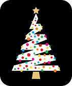 Vector illustration of a white christmas tree with colorful ornaments on a black background.