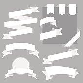 White Ribbons Set isolated On White Background. Vector Illustration