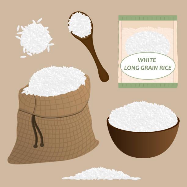 bildbanksillustrationer, clip art samt tecknat material och ikoner med vitt ris vektor set. ris ikonuppsättning. vektor. - ris basmat