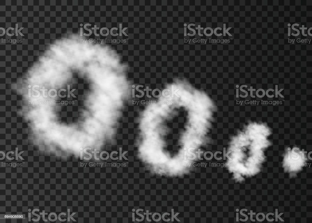 White  rings  of  smoke  isolated on transparent background. vector art illustration