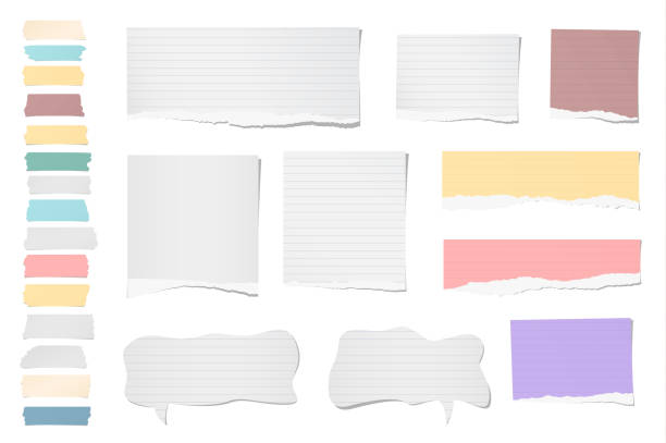 white ripped blank, colorful note, notebook paper strips, sheets, speech bubble, sticky tape for text or message stuck on white background - lined paper stock illustrations