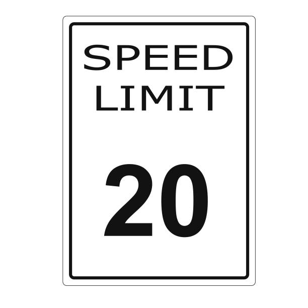 White Road Traffic 20 Twenty Mph Speed Limit Sign Stock Vector Art More Images Of Advice