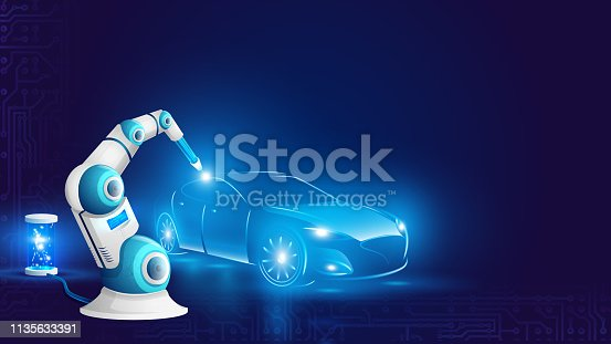 White Robot Arm Welding Automobile Illustration. Industrial Robotic Welder Work on Factory of Car Manufacture. Artificial Intelligence Automation. Future Revolution. Flat Cartoon Vector