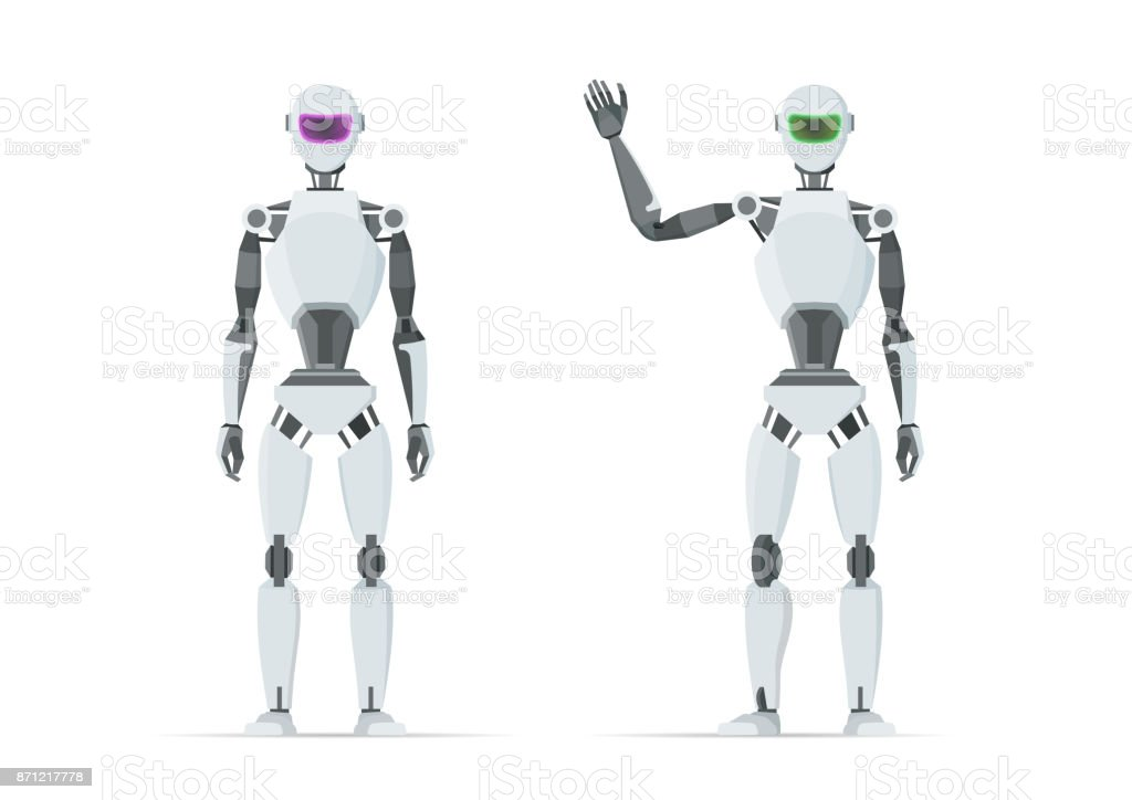 White robot shows emotions. Artificial intelligence.
