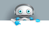 White robot vector character showing empty white board for text and information. Android mascot vector illustration pointing white space for design presentation.