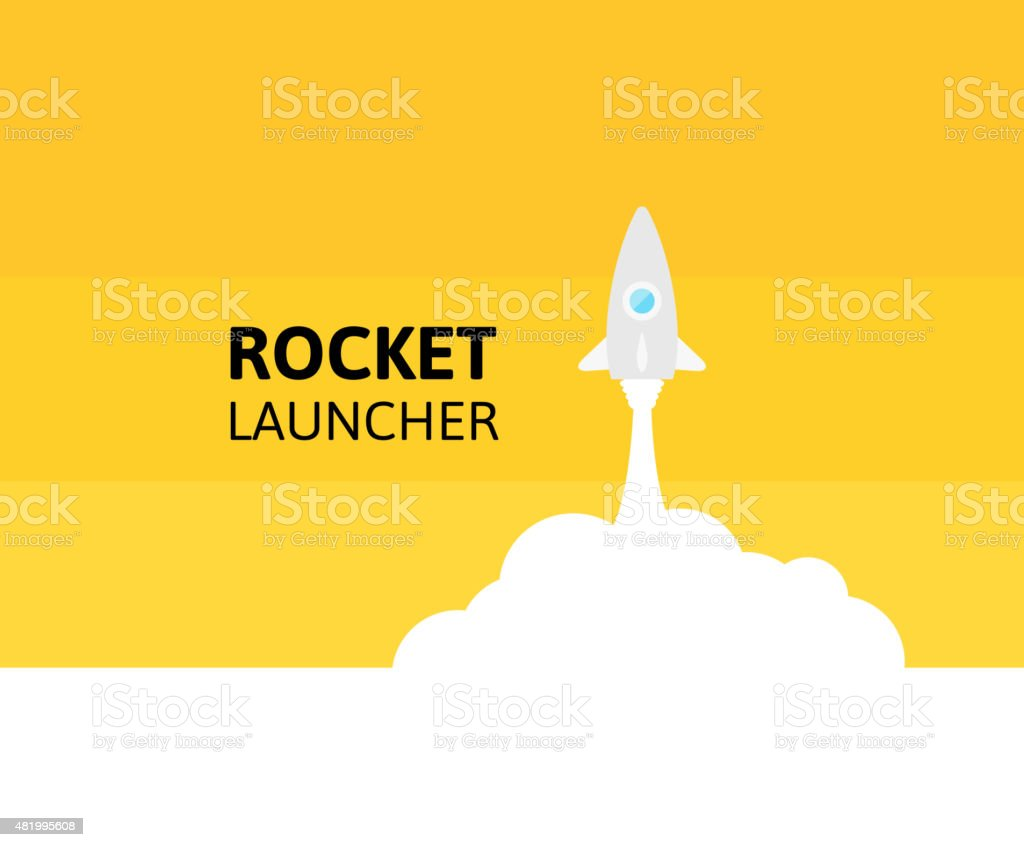 White rocket and yellow sky, icon in flat style vector art illustration