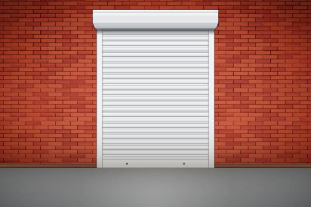 ilustrações de stock, clip art, desenhos animados e ícones de white roller shutters on door - com portada