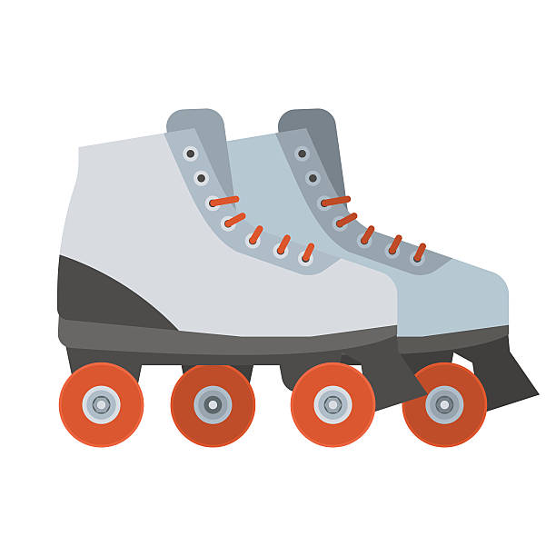 white roller skates icon - rollschuh stock-grafiken, -clipart, -cartoons und -symbole