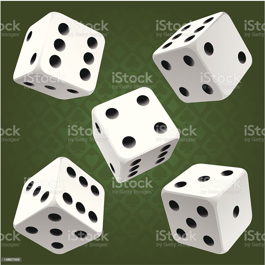 White rolling dice set. Vector icon vector art illustration