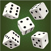White rolling dice set. Vector icon