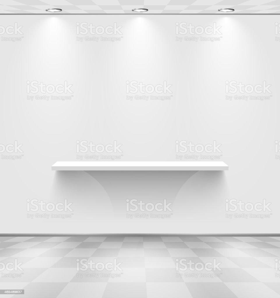 White room with shelf vector art illustration