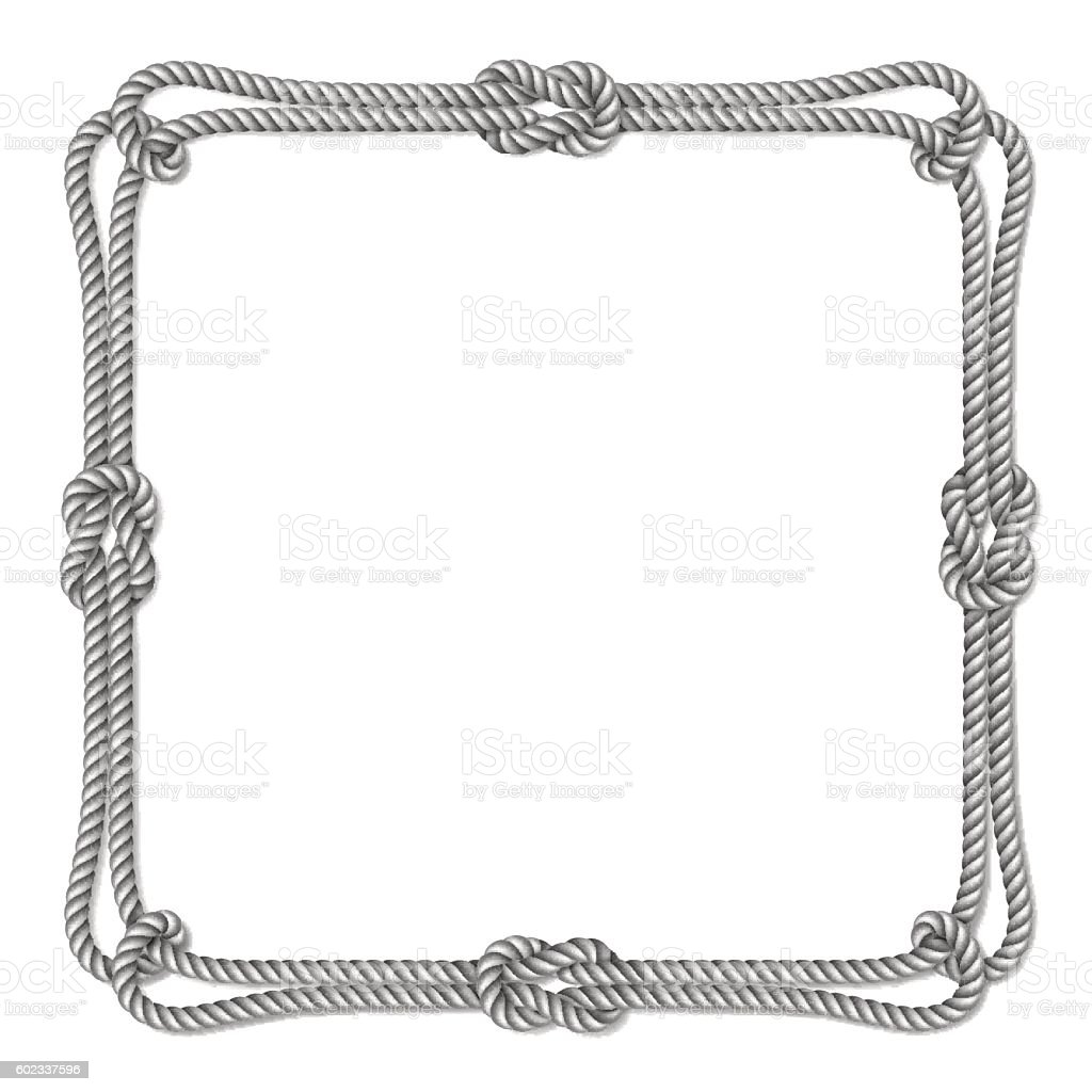 White Rope Woven Vector Border With Rope Knots Square Vector Frame ...