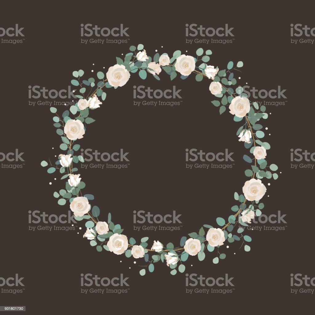 White Rose Flowers And Silver Dollar Eucalyptus Garland Elegant Round Wreath Greeting Wedding