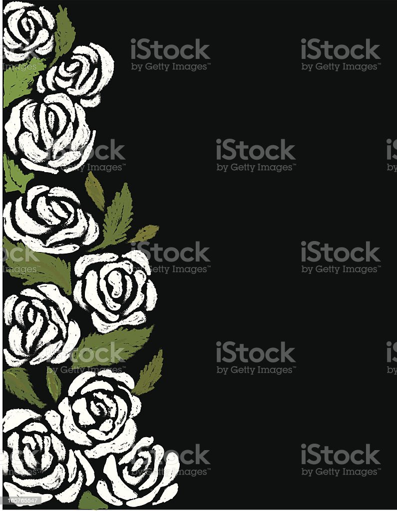 White roses and green leaves on the side of a black backdrop vector art illustration