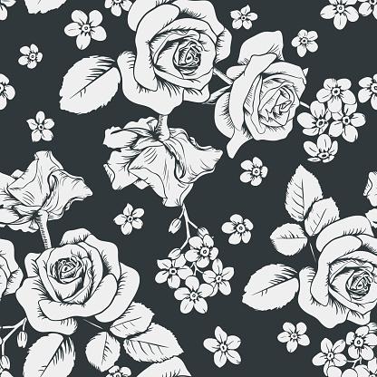 Roses Blanches Et Fleurs De Myosotis Sur Fond Noir Modèle Sans Couture Illustration Vectorielle Vecteurs libres de droits et plus d'images vectorielles de Arbre en fleurs