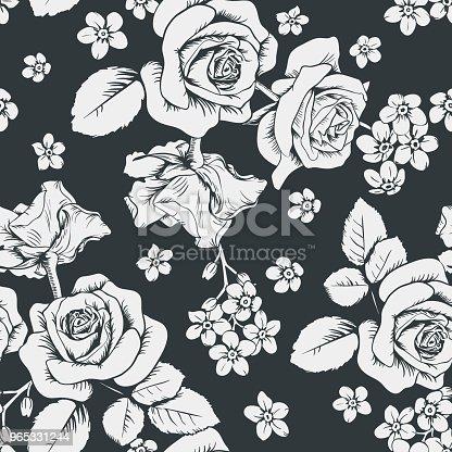 White Roses And Myosotis Flowers On Black Background Seamless Pattern Vector Illustartion - Stockowe grafiki wektorowe i więcej obrazów Bez ludzi 965331244