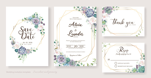 White roses and succulent branches Wedding Invitation card, save the date, thank you, rsvp template.