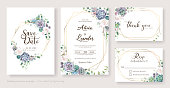 White roses and succulent branches Wedding Invitation card, save the date, thank you, rsvp template. Vector.