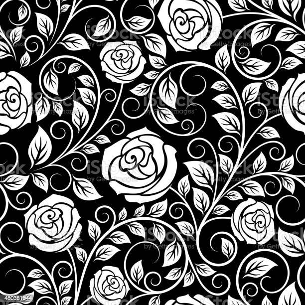 White roses seamless pattern on black background vector id480381544?b=1&k=6&m=480381544&s=612x612&h=qb hzcjey154eetxawly9s0 wznpifhwe1snvojng0e=
