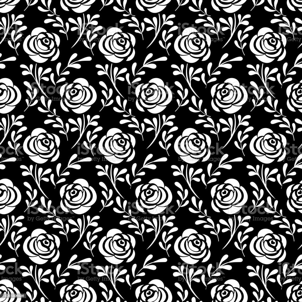 黒い背景に白いバラのシルエットと葉シームレスなパターン生地ラッピング壁紙のための不思議の国の背景にアリス装飾的なプリントベクトルの図 おとぎ話のベクターアート素材や画像を多数ご用意 Istock