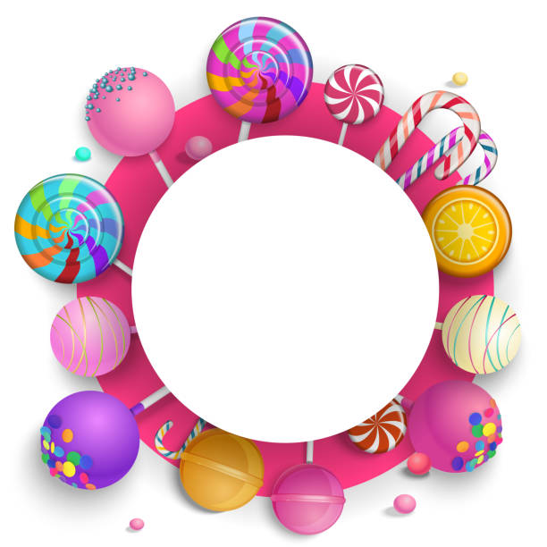 White round background with colorful lollipops. White and pink round background with bright colorful lollipops. Vector paper illustration. candy borders stock illustrations