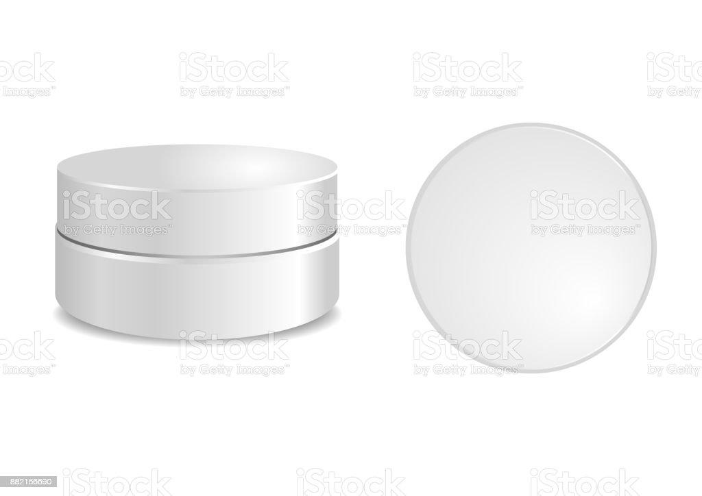 Blanco Caja Redonda Con Tapa Redonda Packaging Vector Simulado Por ...