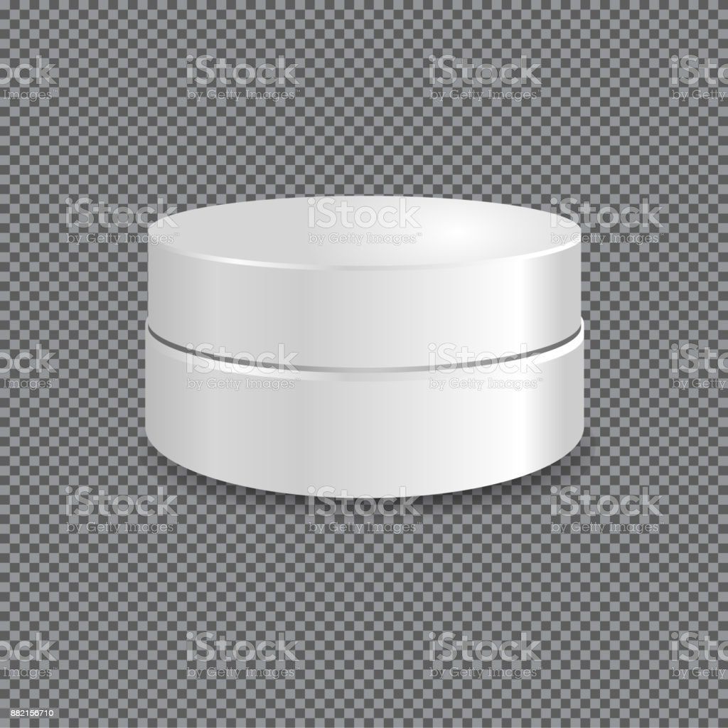 White Round Box With Round Cap Vector Packaging Mock Up Template