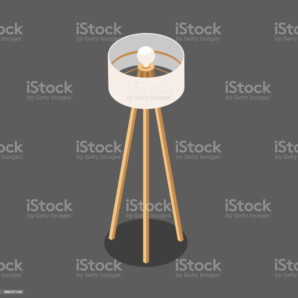 White round floor lamp on a tripod in the isometric stock vector art white round floor lamp on a tripod in the isometric royalty free white round floor aloadofball Gallery