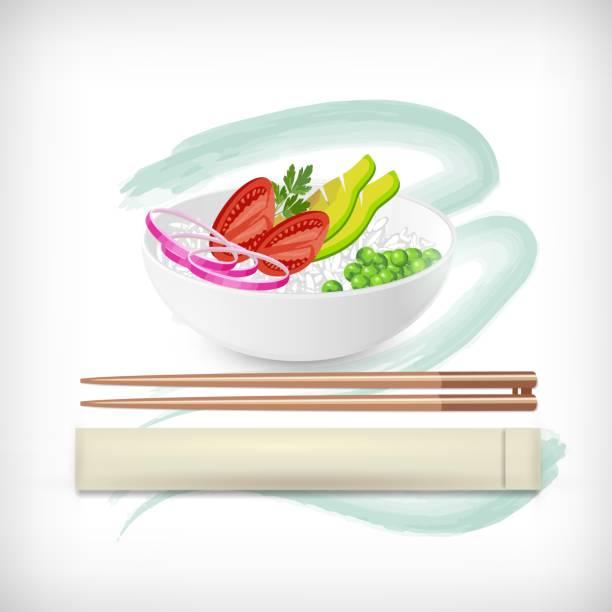 アボカド、ライス、オニオンリング、トマト、グリーンピース、水彩画の背景に木製の食べ物の箸と白丸いポークボウル。 - ポキ点のイラスト素材/クリップアート素材/マンガ素材/アイコン素材