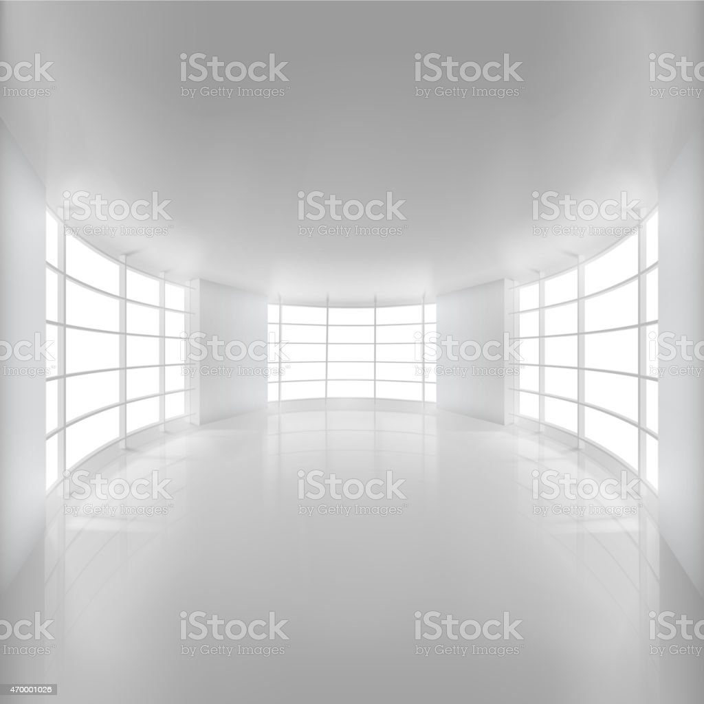 White Rounded Room Illuminated by Sunlight. vector art illustration
