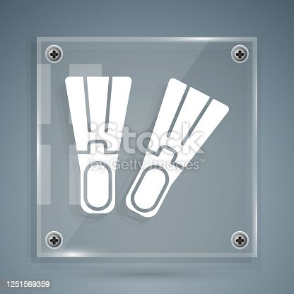 istock White Rubber flippers for swimming icon isolated on grey background. Diving equipment. Extreme sport. Sport equipment. Square glass panels. Vector Illustration 1251569359