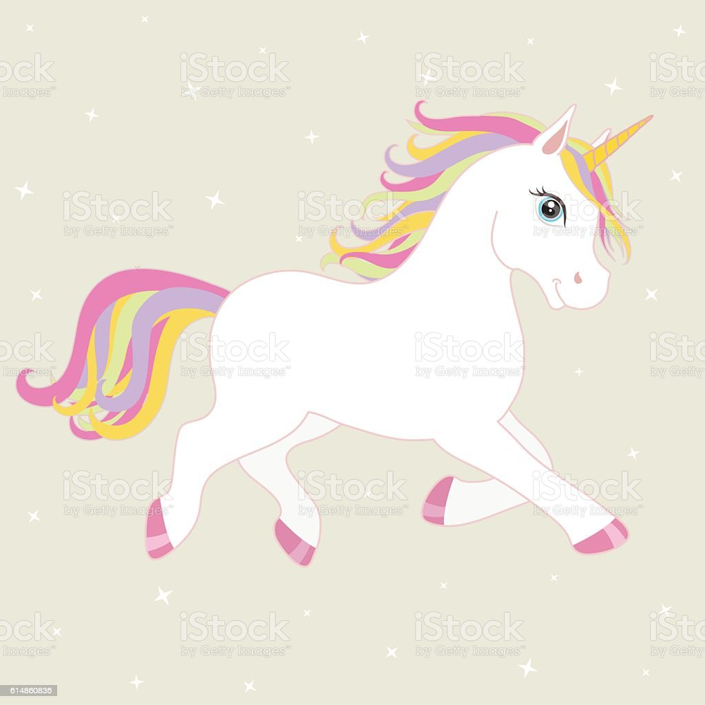 White Running Unicorn With Mane And Horn Vector Starry