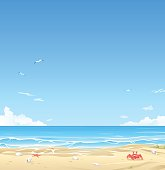 Vector illustration of a beautiful white sand beach with cloudy blue sky in the background. Illustration with space for text.