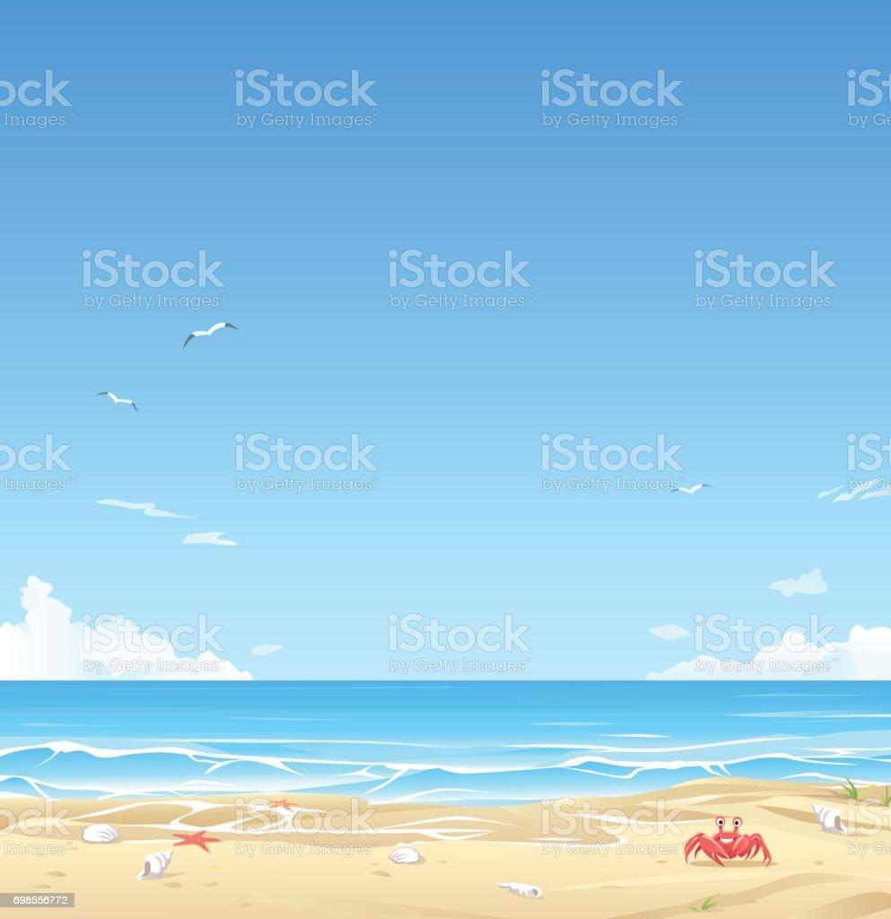 White Sand Beach vector art illustration