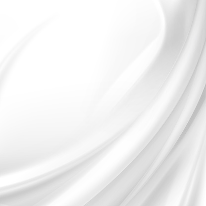 White Satin Silky Cloth Fabric Textile Drape with Crease Wavy Folds. Abstract Background