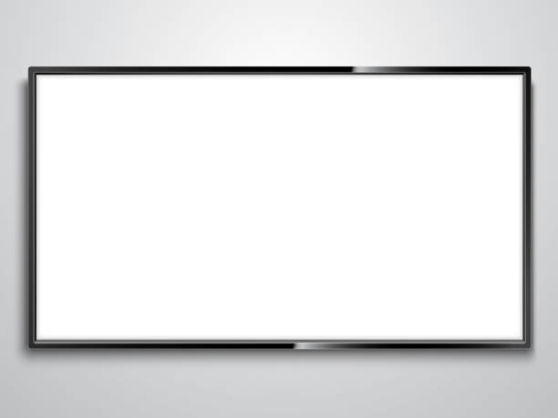 White Screen TV Realistic TV model with empty white screen on wall television stock illustrations