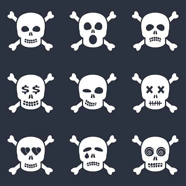 White scull smiles icons - Illustration vectorielle