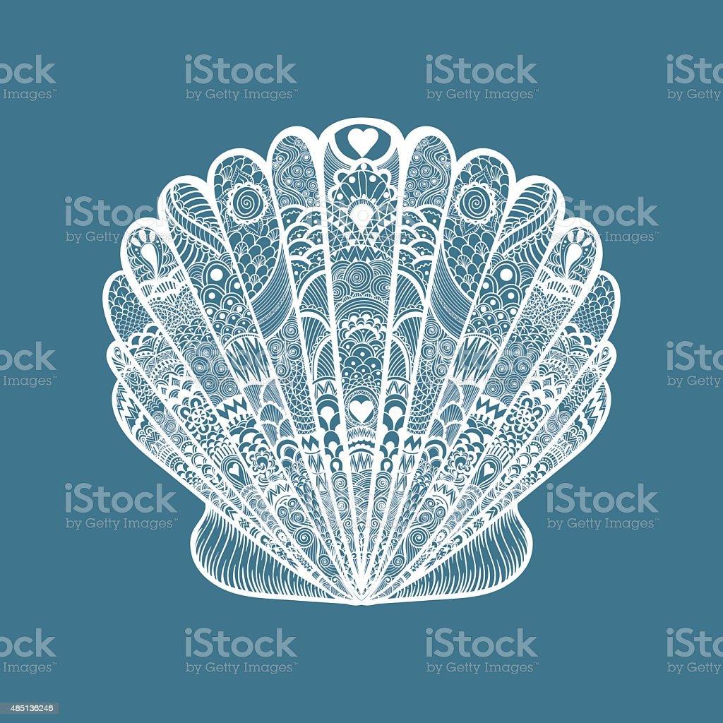 Zentangle Stilizzato Bianco Conchiglia Di Mare Mano Disegno Doodle
