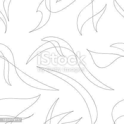 White seamless pattern in line art style, with black thin lines. White texture with chaotic thin black lines.