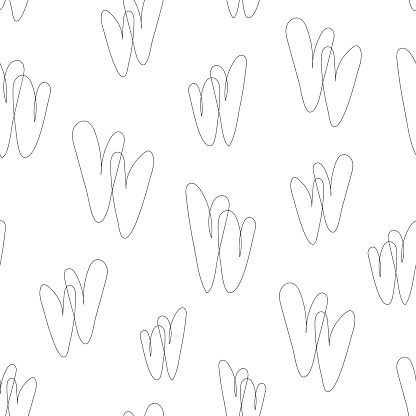 White seamless pattern with hearts in line art style, linear double hearts. Abstract background, minimalist, love print.
