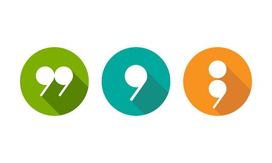 white semicolon, comma and qoutation mark icons set isolated on white.