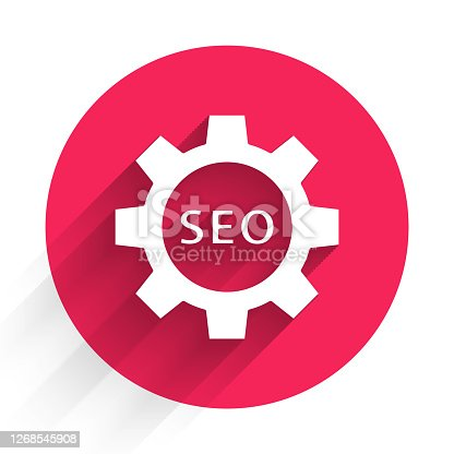 White Seo tag with gear wheel icon isolated with long shadow. Red circle button. Vector Illustration