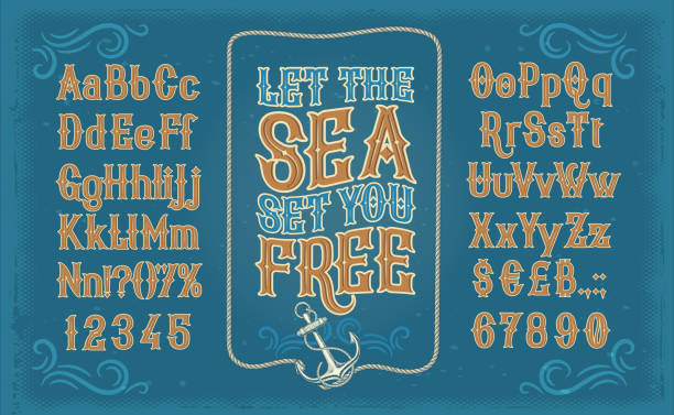 White serif font, alphabet, numbers and symbols Vector retro white serif font, the Latin alphabet, numbers and symbols on blue background in frame from the ships anchor and rope. Vintage signboard for yacht club, advertising of sailing competitions alphabet borders stock illustrations