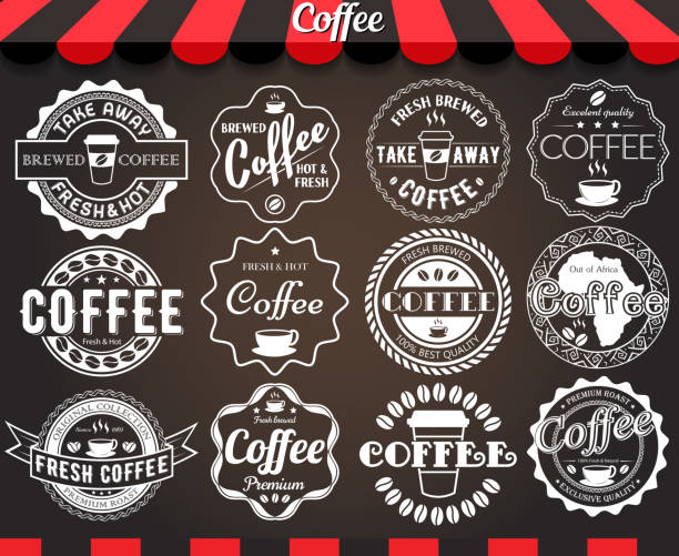 white set of round vintage retro coffee labels and badges - coffee stock illustrations, clip art, cartoons, & icons