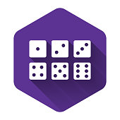 White Set of six dices icon isolated with long shadow. Purple hexagon button. Vector Illustration