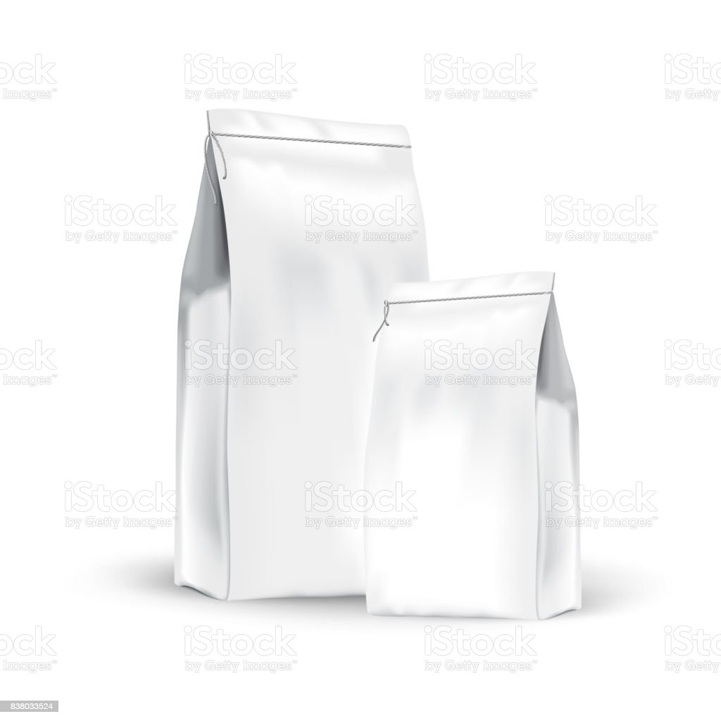 White Set Paper Bags For Bulk Products Tea Coffee Spices