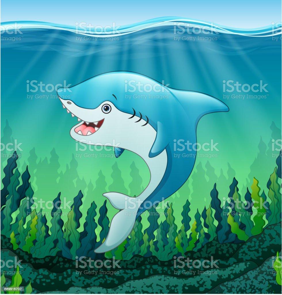 white shark cartoon underwater stock vector art 689916702 istock