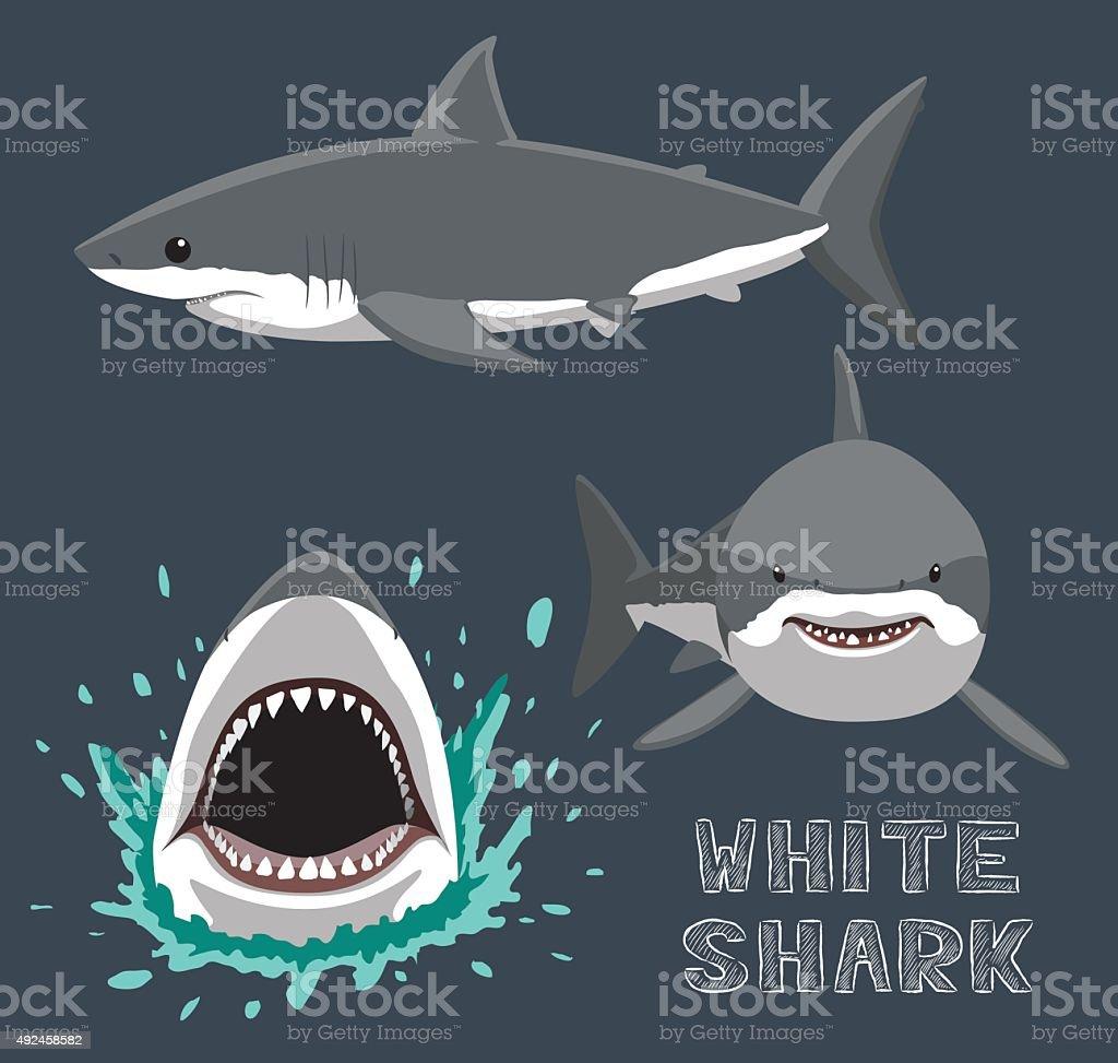 white shark cartoon vector illustration stock vector art 492458582