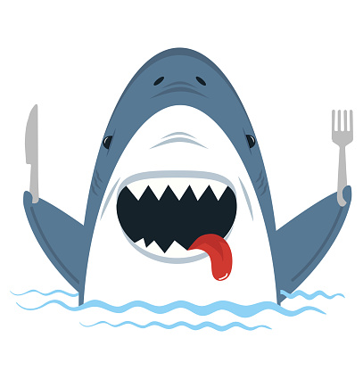 White Shark  holding spoon and fork